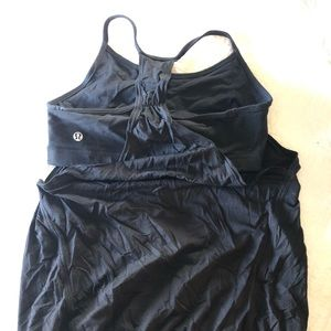 Black lululemon CYB tank mesh with bra